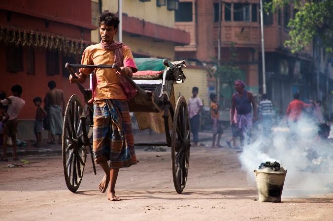 Barefooted Rickshaw driver, Calcutta Kolkata India
